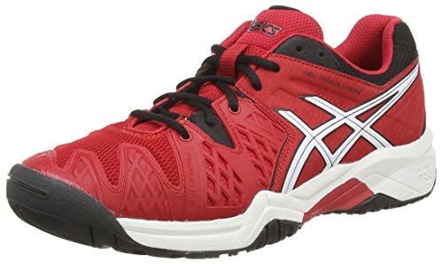 ASICS - Gel-Resolution 6 Gs, Scarpe Da Tennis da unisex - adulto Rosso (Fiery Red/Black/White 2390)