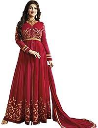 Mordenfab Women's Red Faux Georgette Anarkali Suit (Red_Free Size)