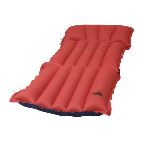 10T Ruby Sit+Lie Baumwoll-Tube-Matratze für 1 Person 186x60x13cm Sitz-Liege Luftmatratze Luftbett Campingmatte Strand-Matratze mit Aussenbezug aus Baumwolle im rot - blauen Retro Design (Liege Bett Box)
