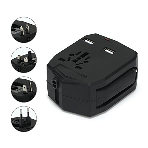 Pawaca Worldwide All in One Reiseadapter, Kfz Adapter und Ladesteckdose 2 in 1, Internationaler Travel Power Wandadapter mit Dual USB Anschluss, für USA, EU, UK, AU 160 Länder