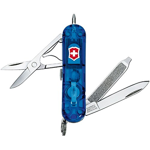 Victorinox Taschenmesser Signature Lite (7 Funktionen, Kugelschreiber, LED) blau transparent