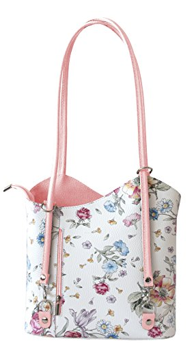 Rucksack Handtaschen 2 in 1 Damentaschen Ledertasche Lederrucksack Designer Luxus Henkeltasche mit Blumenmuster Tasche aus Echt Leder (Pink) (Original-designer-taschen)