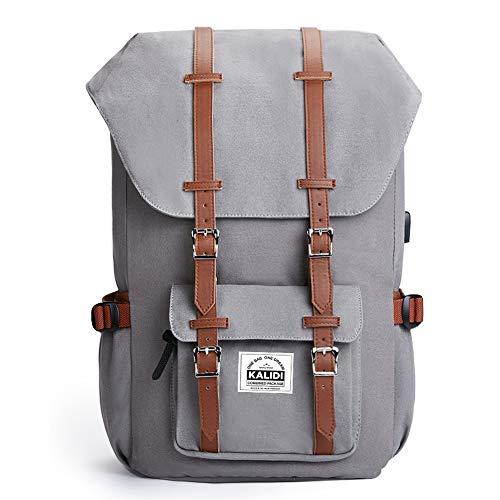 Canvas Rucksack, Casual Daypack mit USB Charge Port Backpack Schulrusack Laptoprucksack für Freitzeit Arbeit Campus Schule Reise, Grau …