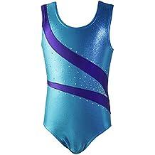 Wingogo Maillot De Danza Gimnasia Ritmica Leotardo Para Niña (Azul, 160)