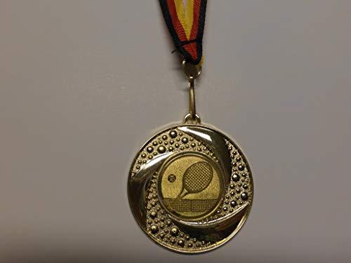 20 x Medaillen aus Metall 50mm - mit einem Emblem, Tennis - Tennissport - inkl. Medaillen Band - Farbe: Gold - Emblem 25mm - (e219) -
