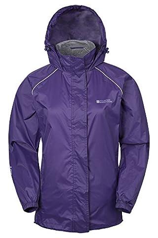 Mountain Warehouse Pakka wasserdichte Damenjacke zusammenfaltbare Regenjacke Windjacke Kapuze Tragebeutel Camping Outdoor Violett DE 48 (EU 50)
