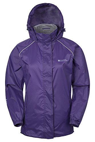 Mountain Warehouse Pakka Womens Waterproof Packable Jacket with Foldaway Hood and Pockets - Lightweight and Breathable Purple 10