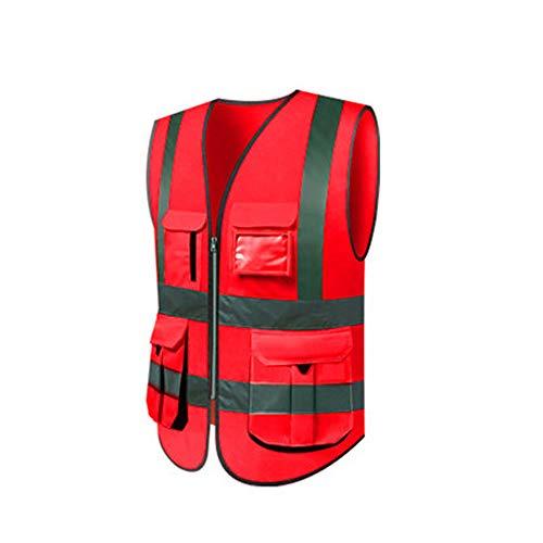 BFQY Reflektierende Weste, Hygieniker Arbeiter Kleidung Verkehr Fluoreszierende Anzug Weste Reflektierende Kleidung, Männlich (Farbe : Groß Rot, größe : 1 piece)
