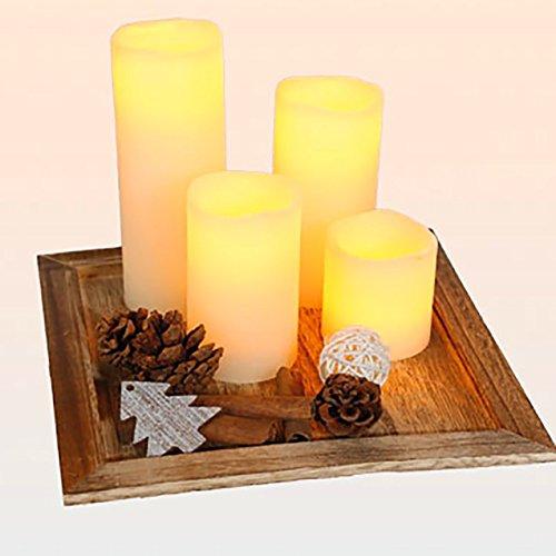 KAMACA Tolles LED   Kerzen   Set Aus Vier LED   Echtwachs   Kerzen Auf  Massivem Holz   Tablett Mit Schöner Dekoration, Perfekte Deko Für Garten,  Terrasse, ...