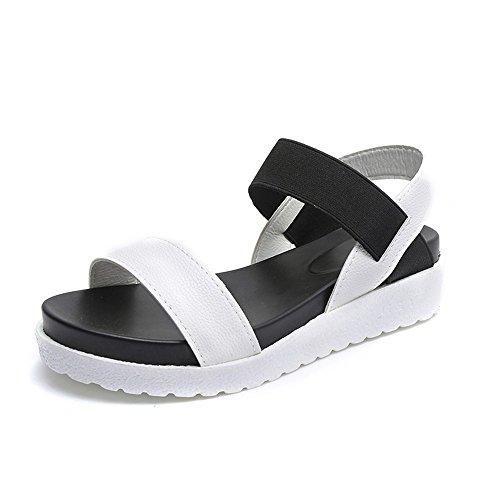 Sandalen Damen Flach Sommer Leder Strand Peep Toe Metallic Plateau Schuhe Schwarz Weiß Silber 35-40 Weiß 36 (Flats Shoes Damen Peep-toe)