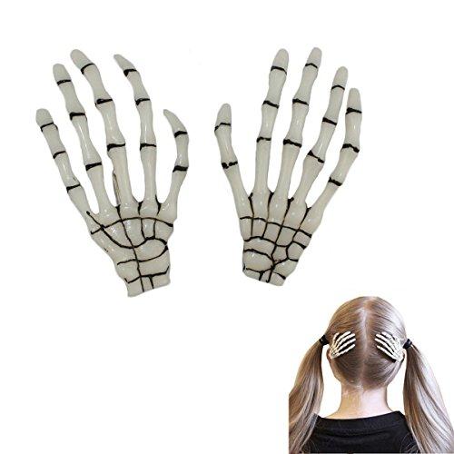 Gleader 1 coppia di fermacapelli capelli moda vendita calda scheletro dell'osso di mano clip dei capelli Punk bianco luminoso