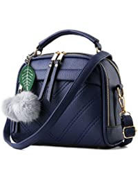 Pu Leather Women Leather Handbag Hairball Women Messenger Bags Pouch Shoulder Crossbody Bags - B079VP32DC