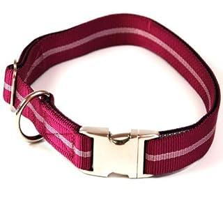 Hundehalsband, Alu-Max®, Soft Nylon, Pflaume mit Streifen, 30-50cm, 20mm, mit Zugentlastung