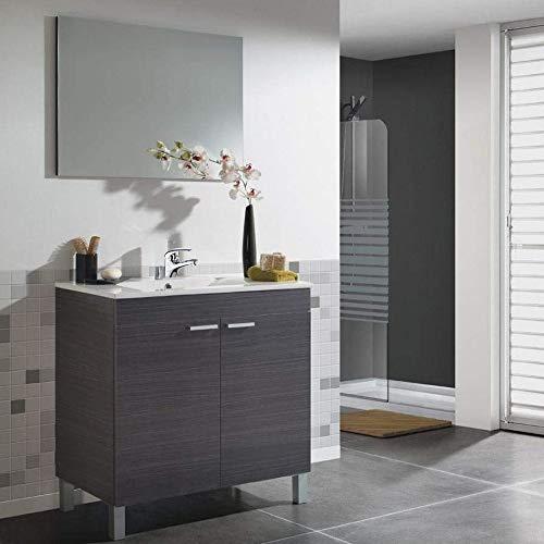 Hogar Decora BAÑO Completo, Mueble con Espejo + Grifo + Lampara LED + Lavabo de PMMA (Novedad - No Clásica Cerámica)*