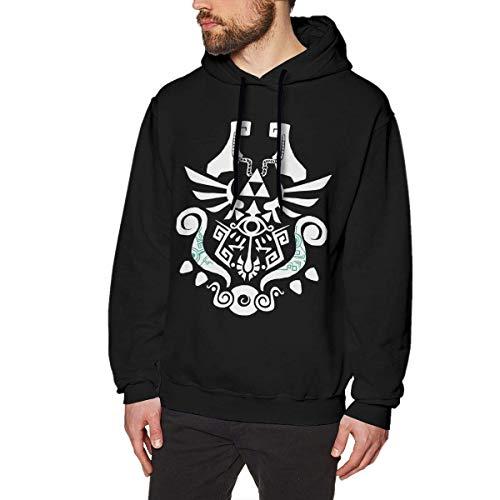 WSND Legend of Zelda Mens Long Sleeve Sweatshirts Mans Hoodies Black Star Zip Youth Sweatshirt