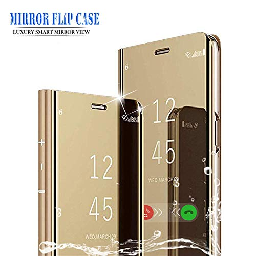 BOWFU para XiaoMi RedMi Note 7 Funda,XiaoMi RedMi Note 7 Funda Espejo,Espejo Ultra Slim Brillante Standing Flip Clear View Case Cover para XiaoMi RedMi Note 7-Oro