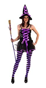 Ladies Sexy Witch Fancy Dress Costume Comes in Purple Perfect for dressing up for Halloween.