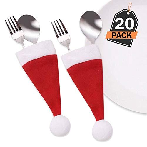 Kompanion set di custodie portaposate da 20 pezzi cappello di babbo natale per decorazioni natalizie accessori per la casa vacanza