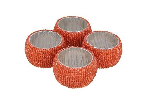 Schmetterling Ring Gelber (Shalinindia Perlen Serviettenringe - 4Er Set Ringe - Orange Serviettenringe Set - Durchmesser-1,5 Zoll)