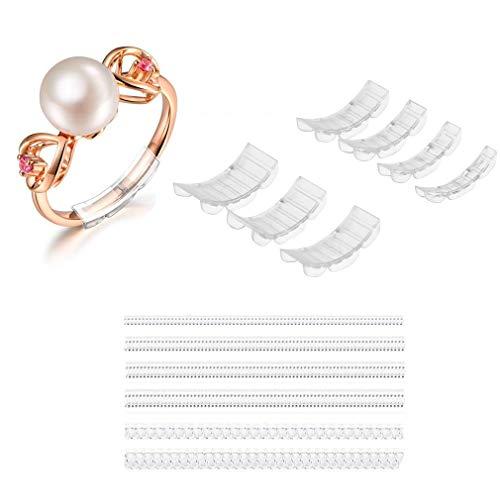 Eiito Ring Grössen Verkleinerer Unsichtbare (14-Stücke) Snuggi Rings Stück Ringgröße Adjuster für Lose Männer und Frauen Ringe 7-Größe