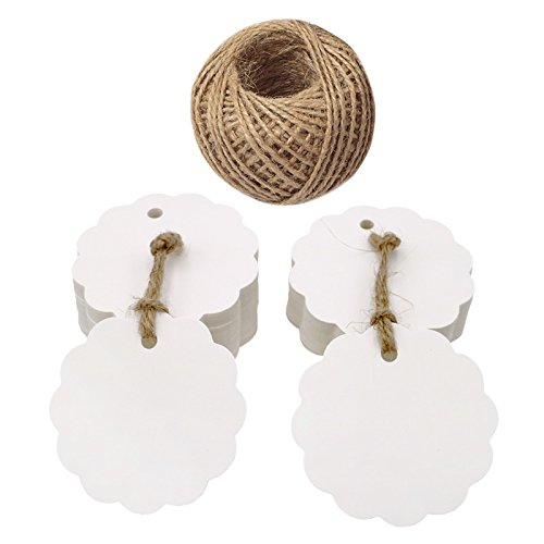 100 Stücke Geschenkanhänger, 6 CM Runde Blume Form Hängen Tags Etiketten mit 30 M Jute-Schnur(Weiß) (Tags Blume)