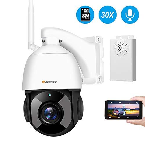 Jennov PTZ Überwachungskamera 30x Fach Digitaler Zoom 1080P WLAN IP Kamera 355° schwenkbar 100° neigbar Zweiwege-Audio 100m IR Nachtsicht IP66 wasserdicht APP Fernzugriff 32GB TF-Karte für Innen Außen (Hd-webcam Outdoor)