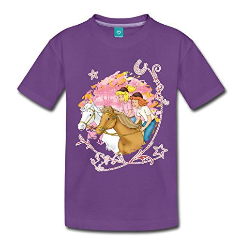 Spreadshirt Bibi und Tina Wettreiten Im Wald Kinder T-Shirt, 134/140 (8 Jahre), Lila (Wald Violett)
