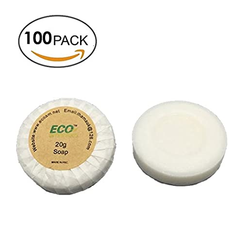 ECO AMENITIES Round Tissue Pleated 20g Cleaning Soap, 100 Bars per Case (Bath Soap Bar)