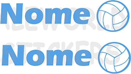 AWS 2 Sticker SPORT mit Namen Personalisierte H 2 cm Volleyball Ball Flug ohne Hintergrund Tuning mit Logo Sport Vinyl Wasserdicht Motorrad Fahrrad Helm Custom Name Volley Ball Beach, hellblau