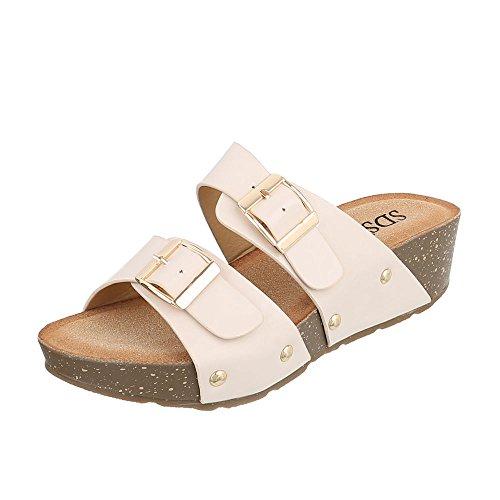 Pantoletten Damenschuhe Jazz & Modern Keilabsatz/ Wedge Leichte Ital-Design  Sandalen / Sandaletten Beige