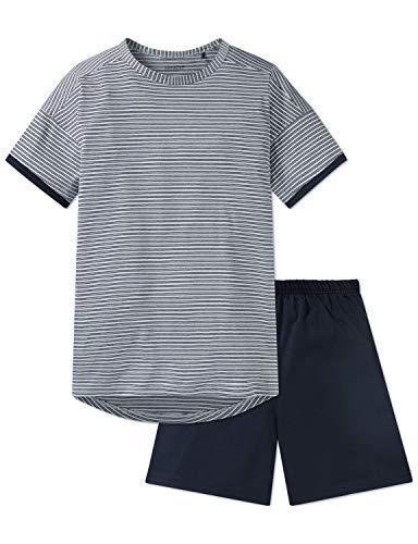 Schiesser Jungen Anzug kurz Zweiteiliger Schlafanzug, Grau (Grau 200), 152 (Herstellergröße: S)