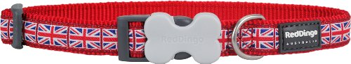 Red Dingo Hundehalsband, Union Jack-Muster, Größe S, 1,5cmx-24-37 cm, Rot/Weiß/Blau (Weiß Halsband Rot Blau)