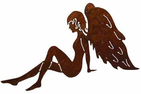 Rost Engel sitzend 60 cm Flügel lang Elfe Deko Dekoration Edelrost Weihnachten