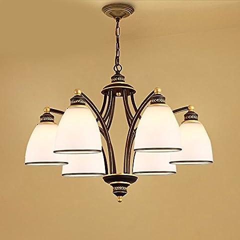 LKMNJ Style européen Industrial Air Sépia le lustre Lustre Accueil Le Village d'Art de fer d'éclairage Lampe verre,6Tête en