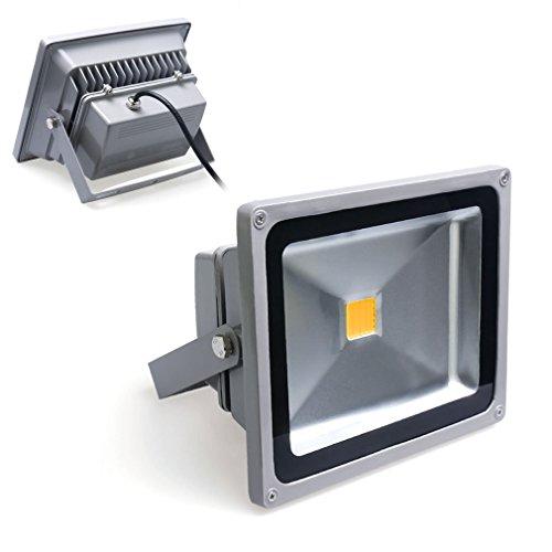 DM Spot LED Fluter 50W wie 500W Leuchtkraft von Halogenleuchtmittel SMD COB LED Flutlichtstrahler WW in warmweiß (3000-3500K) Scheinwerfer Außenstahler Flutlicht Spotlight IP65 Wasserdicht Außen LED Arbeitsleuchten 230V in grauer Gehäuse