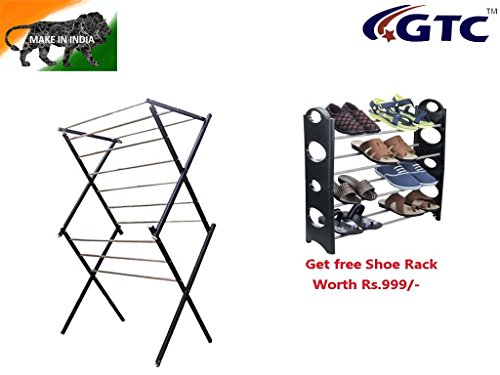 GTC Cloth Drying Stand 12 Stainless Steel Rod (TS-2) Free Shoe Rack