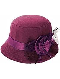 Zhouba Femme fête de voyage rétro Floral Melon Couleur unie Fedora Chapeau melon Caps taille unique violet