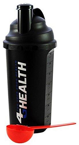 Eiweißshaker Schwarz 4G Health Eiweiß Shaker Set + Dosierlöffel - Protein Shaker - Mixer - Cocktailshaker (Schwarz-Silber) (Uhrzeigersinn Gegen Sehen Den)