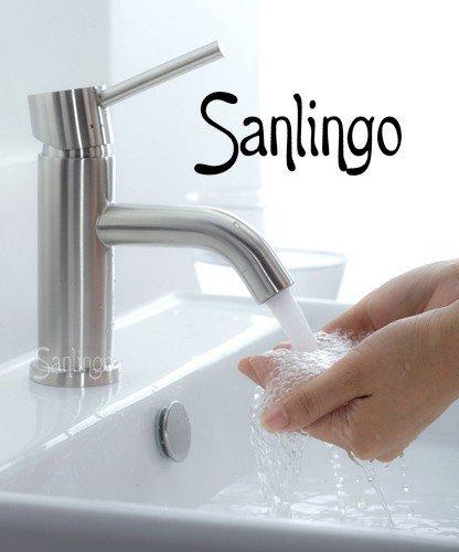 Sanlingo Design Badezimmer Waschbecken Armatur aus 100% gebürstetem Edelstahl
