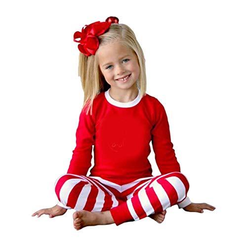 Weihnachten Pyjamas Herbst Winter Mutter Vater Tochter Sohn Pyjamas Rot & Weiß Streifen Familie Kleidung Set Freizeitkleidung Anzug - Rot & Weiß