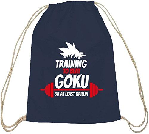 Training To Beat Goku Or At Least Krillin, Baumwoll natur Turnbeutel Rucksack Sport Beutel dunkelblau natur