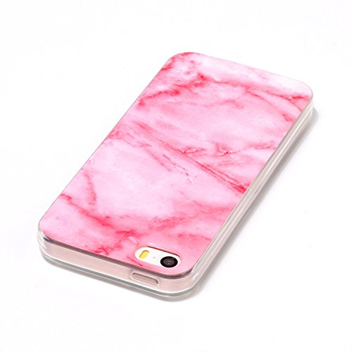 "Coque iPhone 5s, SsHhUu Ultra Mince [Marbre Pattern] Flexible Caoutchouc Doux TPU Skin Case Bumper Silicone Gel Anti-Scratch Cover pour Apple iPhone 5 / 5s / SE (4.0"") Rose-Blanc-Noir Rose Clair"