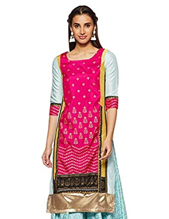 W for Woman Women's Straight Kurta (17AU17341-65669_Pink and Aqua_6)