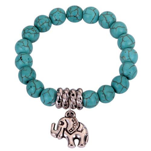 Yazilind Schmuck-Geschenk Kap Türkis-Korn- Tibet Silber Netter Elefant Stretch -Armband-Armband für Frauen & ()