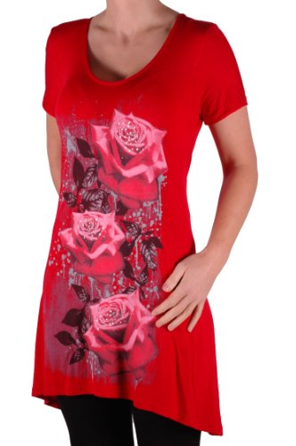 EyeCatch Plus - T Shirt manches courtes motif roses - Femme - Plusieurs Tailles et Couleurs Rouge