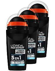 L'Oréal Men Expert Carbon Protect Ice Fresh Déodorant Bille Homme Anti-traces 50 ml - Lot de 3