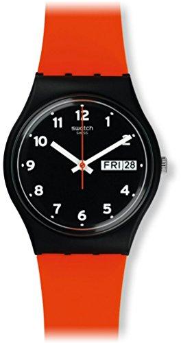 Swatch Unisex Analog Quarz Uhr mit Silikon Armband GB754