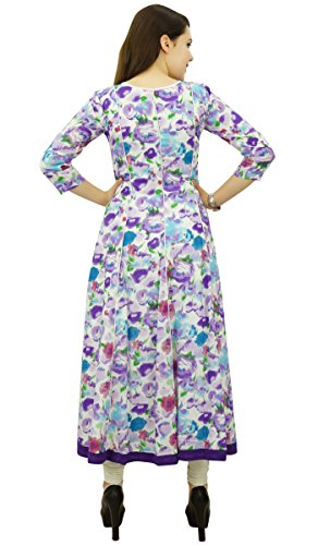 Phagun Frauen Ethnische Top Cotton Floral Anarkali Kurti Tunika Kleid Designer Kurta Mehrfarben
