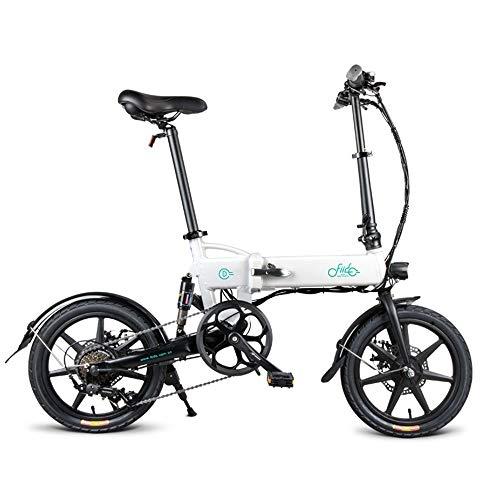 Bicicletta elettrica pieghevole con motore da 250 W,40,6 cm,25 km / h,lega di magnesio super leggera,7,8 AH,30-60 km di chilometraggio con supporto per cellulare,3modalitàdilavoro bianco
