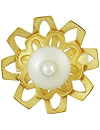 Aastha Jain Sterling Silver Flower(18K Gold Polish) Ring for Women